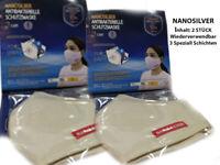 Nano Silber 3 Lagig Gesicht Mund Nase Maske Mehrweg Inhalt 2 Stück Waschbar