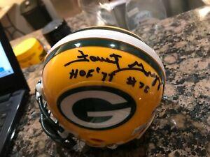 Packers FORREST GREGG Signed Riddell Metal Mini Helmet AUTO w/ #75 & HOF 77 COA