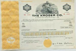 The Kroger Co. grocery store supermarket $1,000 bond certificate
