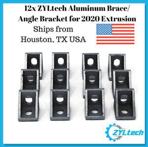 12x 90° 20mm Aluminum Brace/Angle Bracket for 2020 Extrusion