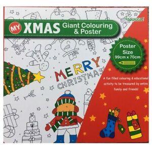 3 x Christmas Xmas Giant Colouring Poster Children's Kids Fun Present 99 x 70cm