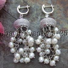 S100614  4MM White Pearl Earrings  Cz Cap