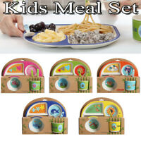 5PCS Bamboo Fibre Kids Dining Meal Set Feeding Time Baby Dish Plate Cup 5
