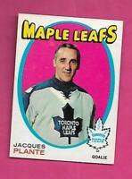 1971-72 OPC  # 195 LEAFS JACQUES PLANTE GOALIE GOOD CARD (INV# D0302)