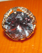 BEAUTIFUL 14ct YELLOW GOLD COLOUR CHANGE ALEXANDRITE LOOK LIKE ROUND RING SIZE O