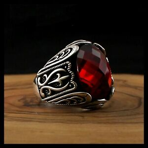 Solid 925 Sterling Silver Turkish Handmade Jewelry Red Zircon Stone Men's Ring