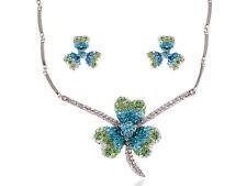 Lucky Blue Green Irish Clover Crystal Rhinestone Earring Necklace Set