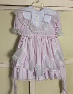 VTG Lace Me Fancy Lilac Ruffled Frilly Full Circle 3 Layer Skirt Pageant Dress 7
