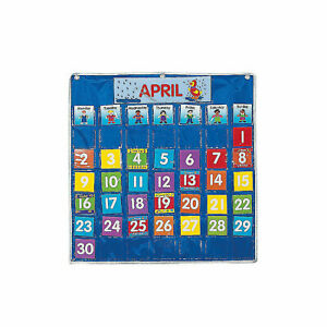 "Classroom Calendar Pocket Chart - Educational - 73 Pieces - 29"" Long"