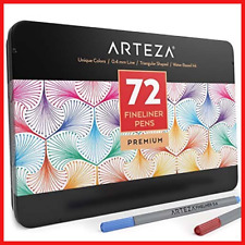 Arteza Fineliners Fine Point Pens, Set of 72 Fine Tip Markers with 0.4mm Tips +