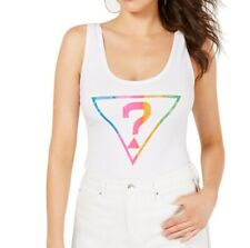 Guess Womens Tops White Size Medium M Knit Bodysuit Scoop-Neck Logo $44 490