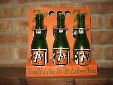 Vintage 7-Up High Top Bottle Cardboard Carrier with 6 Swimmer Bottles, Soda Pop
