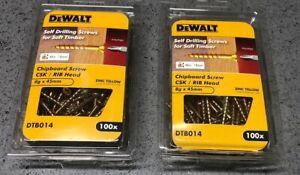 2 X DeWALT Self Drilling Screws Timber 8g  x 50mm  2 X Packs Of 100