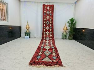 "Moroccan Boujaad Handmade Runner 2'6""x17'1"" Berber Geometric Red Blue Wool  Rug"