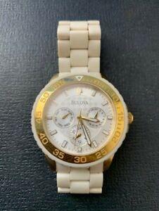 Bulova Women Watch Beige Dial with Beige and Gold Bracelet