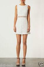 Topshop Cream Lace White Floral Crochet Mini 60s Vtg Summer Shift  Dress 10 38 S
