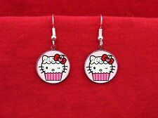 HELLO CUPCAKE KITTY CAT CAKE BAKER EARRINGS KAWAII