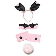 Bunny Girl Set Pink/black Tail Ears Bow Tie Cuffs Hen Night Fancy Dress