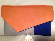 OVER SIZED ORANGE, GREY & ROYAL BLUE faux suede clutch bag, lined.