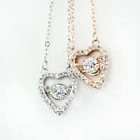 NEW 925 Sterling Silver & Rose Gold Coated Stunning Love Heart Pendant Necklace