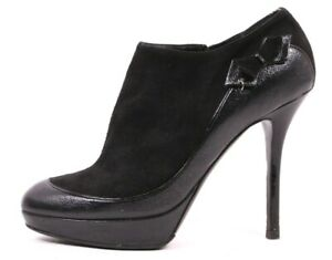 DIOR Black Leather & Suede Bow Detail Slim Heel Ankle Booties 39