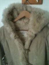 H&M L.O.G.G Beige cream shearling suede winter jacket size EUR 36, UK 8