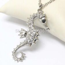Dull-Silver plated Fashion Alloy Seahorse Crystal Animal Pendant/Charm Necklace