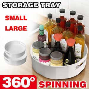Turnable Rotating Storage Tray Spice Bottle Organizer Cosmetic Container Kitchen
