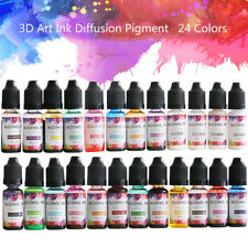 24 Colors 10 ML Epoxy Resin Ink Pigment Liquid Colorant DIY Dye Art Kit Set @