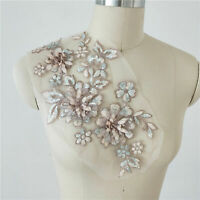 Sequined Lace Applique 3D Flower Embroidery Applique Patch for Costumes