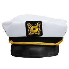 Adjustable White Military Hat Yacht Captain Skipper Sailor Boat Cap Costume Lin