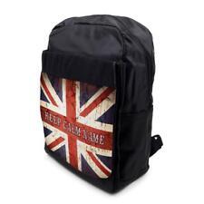 Personalised Backpack KEEP CALM UNION JACK School Laptop Bag Sports Black ST404