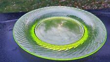 """VASELINE YELLOW URANIUM GLASS  SWIRL 8 1/4"""" PLATE - GROUND BOTTOM"""