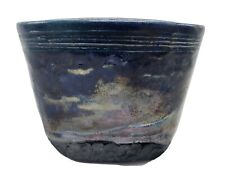 Handmade & Signed Textured Raku Pottery Vase Planter Blue/Green