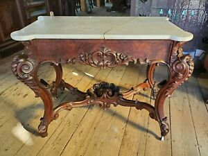 MEEKS style VICTORIAN ROCOCO MARBLE TOP DRESSING TABLE BASE