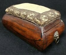 Antique 19th Century Sewing Box with Drawer, Pin Cushion and Lion Head Handles