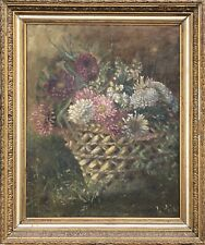 Impressionist - Still Life - Wicker with Flowers - Antique Oil Painting 19.JH