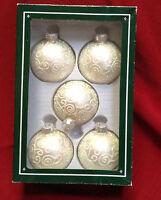 Holiday Lane Box of 5 glass white ornaments