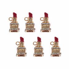 6pcs Red Enamel Metal Crystal Lipstick Pendant Charm Crafts Accessories  24*12mm