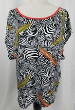 Reebok Womens Sample Oversize Crop Top Multi Color Short Sleeve Size Small