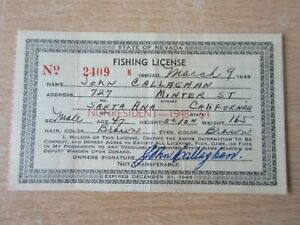 1948 USA Vintage Fishing License - State of Nevada - Non Resident Permit