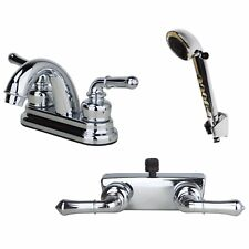 RV Bathroom Faucet and Shower Valve with Hand Shower Combo Chrome