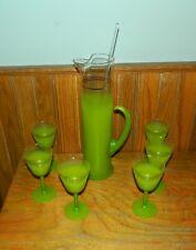 Vintage Blendo MCM Frosted Green Glass Gold Slender Martini Pitcher With Stirrer