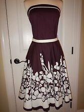 Juniors Size 9 Ruby Rox Burgundy Brown & Beige Floral Lined Strapless Dress