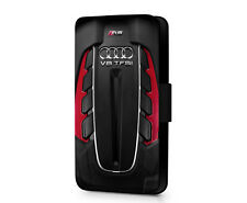 Audi German Engineering S Line V8 Faux Leather Flip Phone Case Cover Wallet