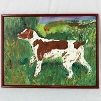 "Original Oil Painting Hunting Bird Dog Sporting Vintage Framed 25"" x 18"""