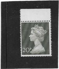 """BRITISH 1970 20p OLIVE-GREEN MACHIN """"LINE BELOW EAR ON NECK ERROR"""" SG.830 MNH"""