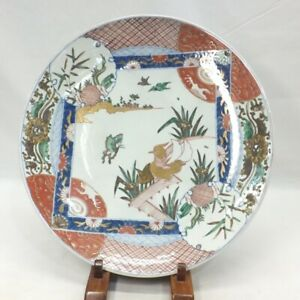 A280: Japanese BIG plate of old IMARI colored porcelain with good painting