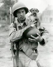 WWII B&W Photo US Soldier and Dog M1 Garand US Army  WW2 World War Two / 1146