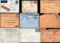 France French 1900 -1950 9 Covers Airmail Postage Due Registered Official Paris